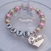 Bridesmaid Personalised Wine Glass Charm - Full Sparkle Style